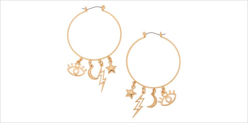 Go to Product: Gold 40MM Eye Charm Hoop Earrings from Claires