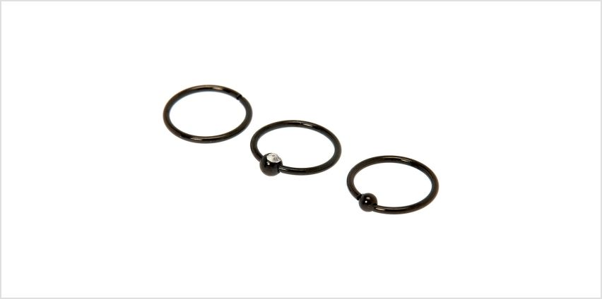 Go to Product: Hematite 20G Beaded Crystal Cartilage Hoop Earrings - 3 Pack from Claires