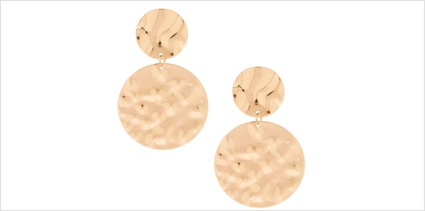 "Go to Product: Gold 2"" Circle Hammered Drop Earrings from Claires"