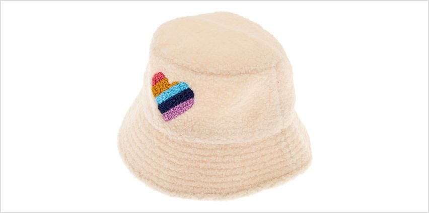 Go to Product: Sherpa Rainbow Heart Bucket Hat - Cream from Claires