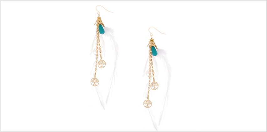 """Go to Product: Gold 4"""" Tree Coin Feather Drop Earrings - White from Claires"""