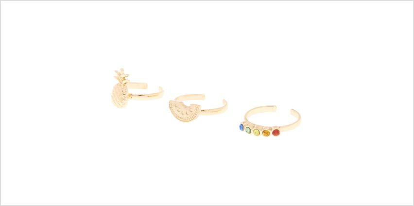 Go to Product: Gold Rainbow Fruit Toe Rings - 3 Pack from Claires