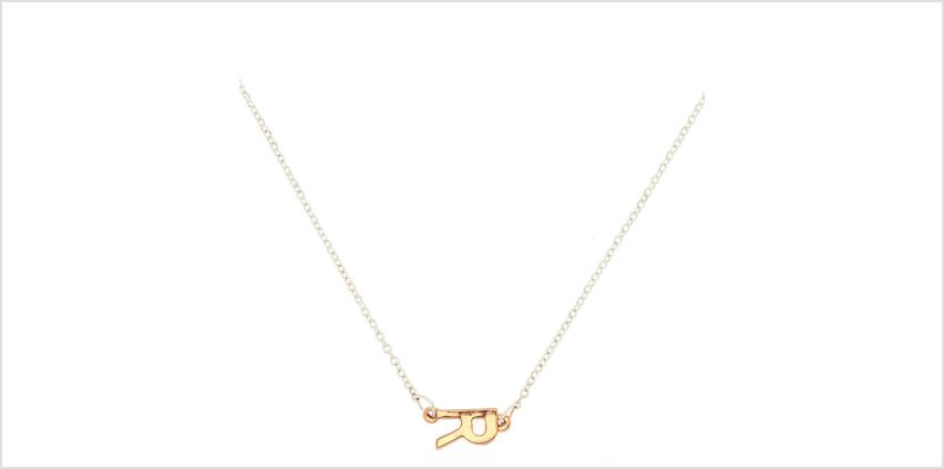 Go to Product: Mixed Metal Sideways Initial Pendant Necklace - R from Claires