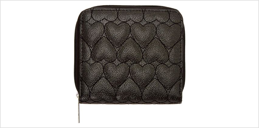 Go to Product: Quilted Heart Mini Zip Wallet - Black from Claires