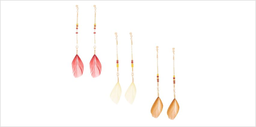 """Go to Product: Gold 3"""" Feather Drop Earrings - 3 Pack from Claires"""