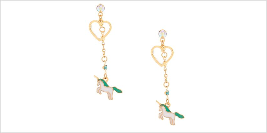"Go to Product: 2"" Pastel Unicorn Heart Drop Earrings - Turquoise from Claires"