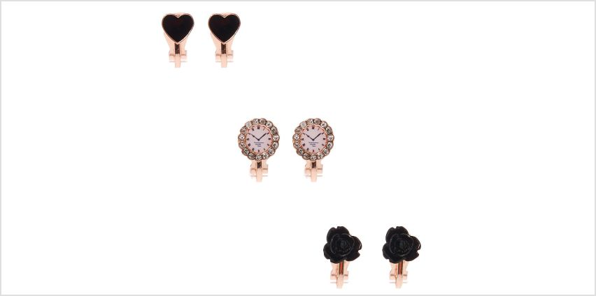 Go to Product: Rose Gold Clock Clip On Stud Earrings - 3 Pack from Claires