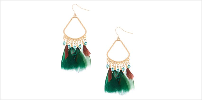 "Go to Product: 3"" Feather Chandelier Drop Earrings - Green from Claires"