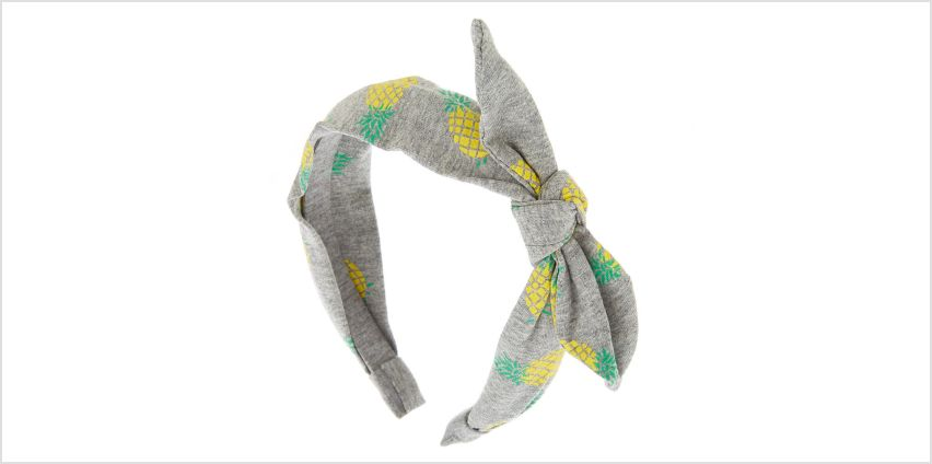 Go to Product: Pineapple Knotted Bow Headband - Grey from Claires