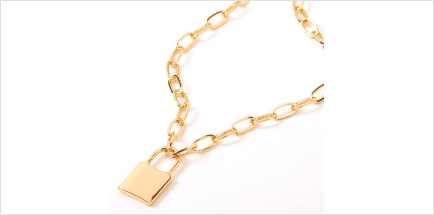 Go to Product: Gold Lock Pendant Chain Necklace from Claires