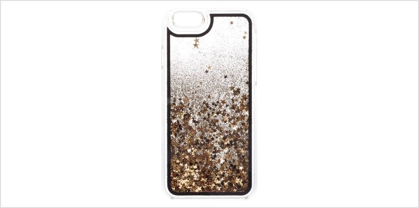 Black & Gold Floating Stars Liquid Fill Phone Case - Fits iPhone 6/7/8 Plus from Claires