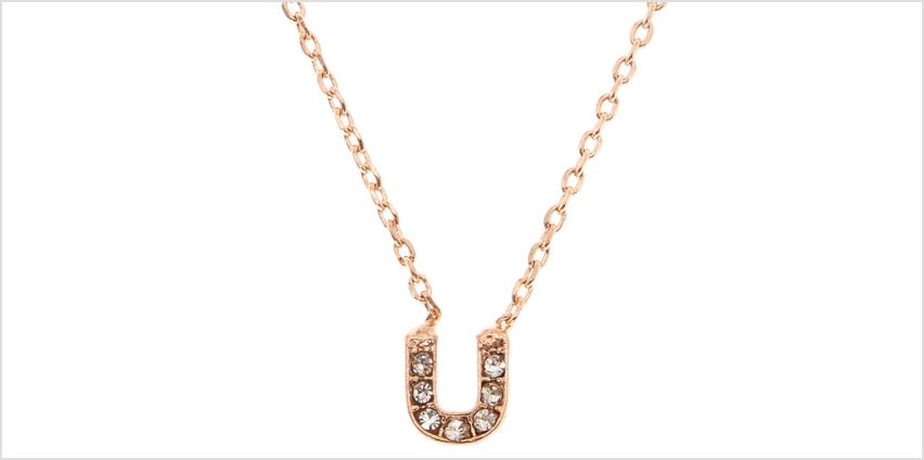 Go to Product: Rose Gold Studded U Initial Necklace from Claires