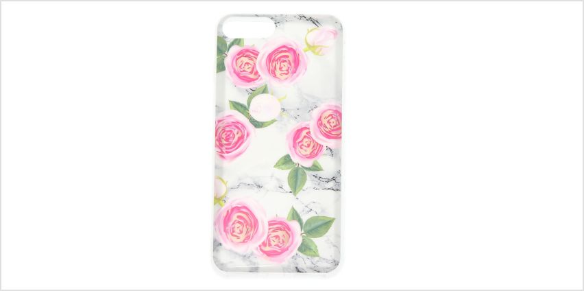 Go to Product: Pink Peonies Marbled Phone Case - Fits iPhone 6/7/8 Plus from Claires