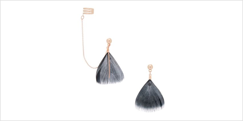"""Go to Product: Rose Gold 1.5"""" Feather Connector Drop Earrings - Black from Claires"""