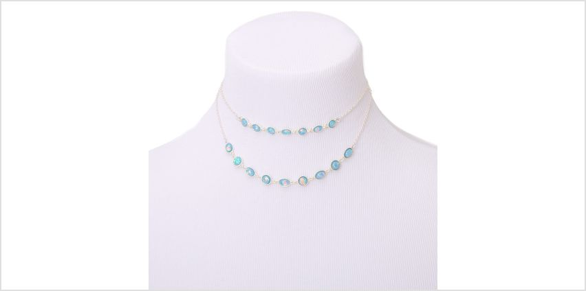 Go to Product: Silver Shimmer Stone Multi Strand Necklace - Aqua from Claires
