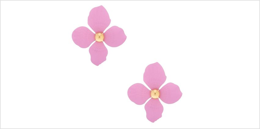 "Go to Product: Gold 2"" Flower Drop Earrings - Lavender from Claires"