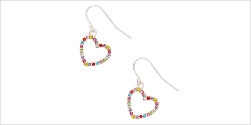 """Go to Product: Silver 1"""" Rainbow Heart Drop Earrings from Claires"""