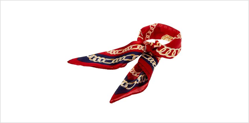 Go to Product: Chain Print Knotted Bandana Headwrap - Burgundy from Claires