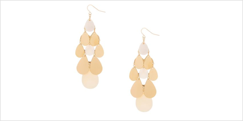 "Go to Product: Gold 3"" Chandelier Drop Earrings - White from Claires"