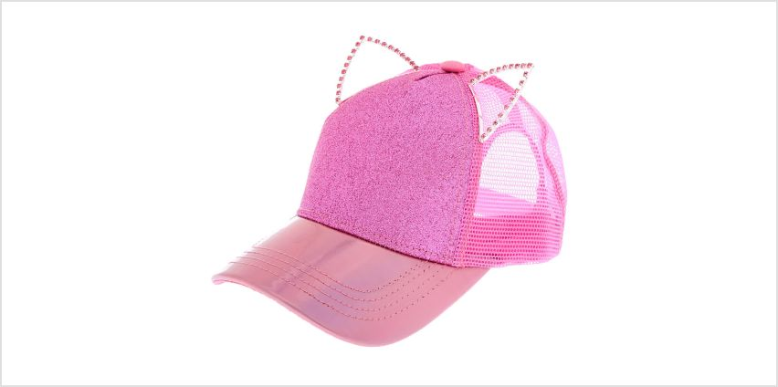 Go to Product: Holographic Glitter Cat Ears Trucker Hat from Claires