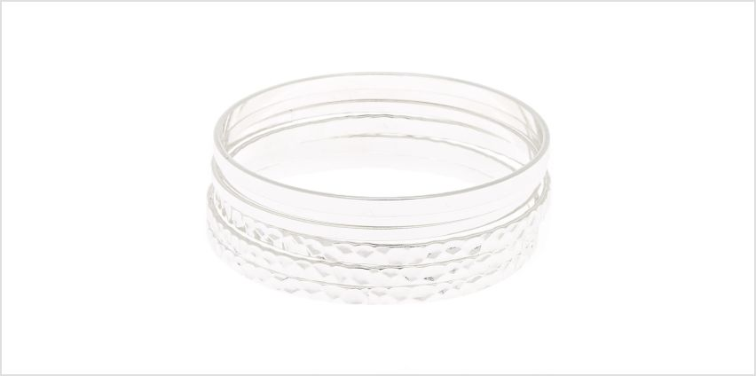 Go to Product: Hammered Silver Bangle Bracelets - 6 Pack from Claires