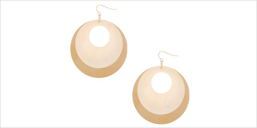 "Go to Product: Gold 2.5"" Open Seashell Drop Earrings - White from Claires"