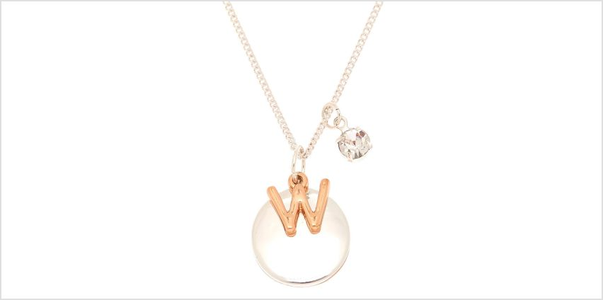 Go to Product: Mixed Metal Initial Charm Pendant Necklace - W from Claires