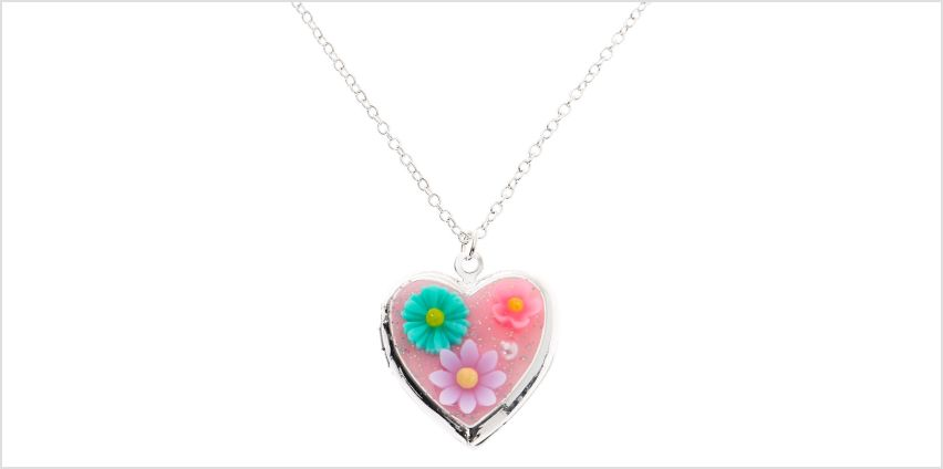 Go to Product: Silver Flower Heart Locket Pendant Necklace - Pink from Claires