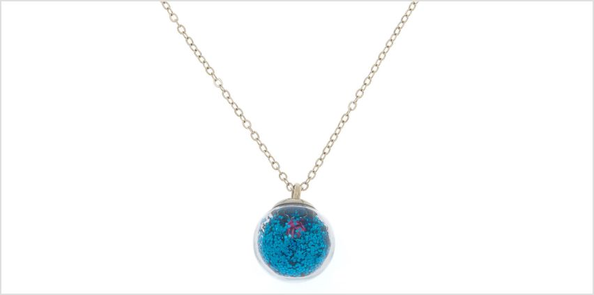 Go to Product: Glitter Flower Globe Pendant Necklace - Blue from Claires