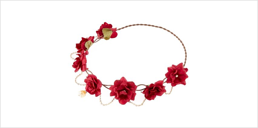 Go to Product: Gold Chain Flower Crown Headwrap - Burgundy from Claires