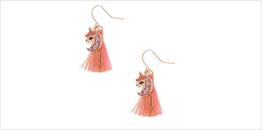 "Go to Product: 1"" Glam Unicorn Tassel Drop Earrings - Coral from Claires"