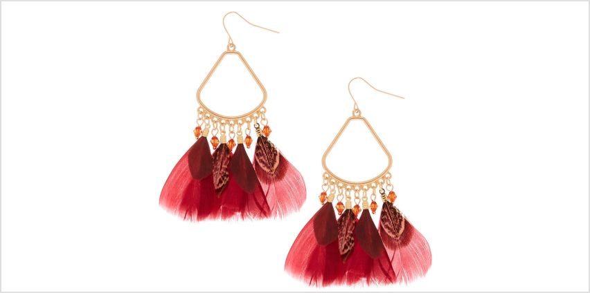 """Go to Product: 3"""" Feather Chandelier Drop Earrings - Red from Claires"""