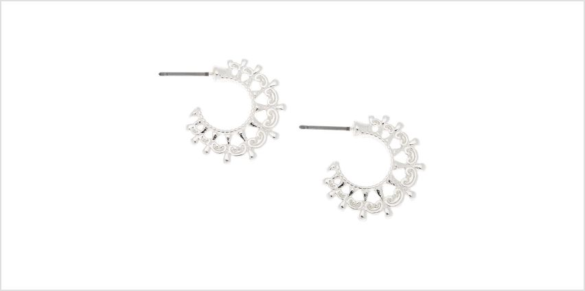 Go to Product: Silver 20MM Ornate Hoop Earrings from Claires