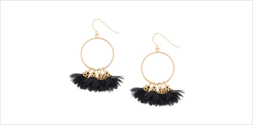 "Go to Product: Gold 1.5"" Drop Earrings - Black from Claires"