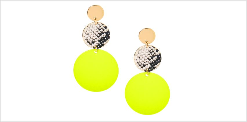 """Go to Product: Gold 2"""" Neon Snakeskin Circle Drop Earrings - Yellow from Claires"""