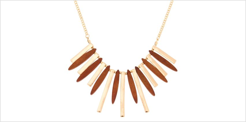 Go to Product: Gold Wooden Bar Statement Necklace from Claires