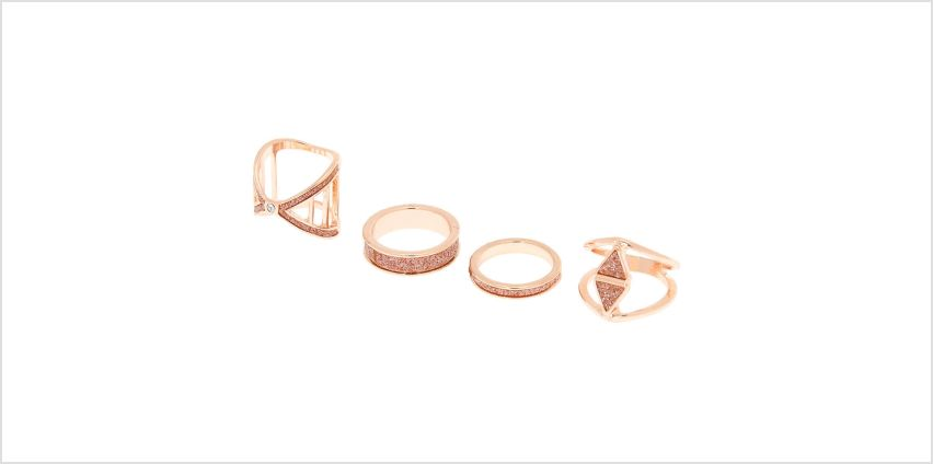 Go to Product: Rose Gold Glitter Geometric Rings - Rose Gold, 4 Pack from Claires