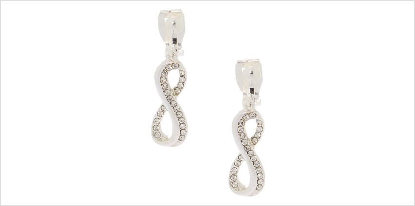 """Go to Product: Silver 1"""" Infinity Clip On Drop Earrings from Claires"""