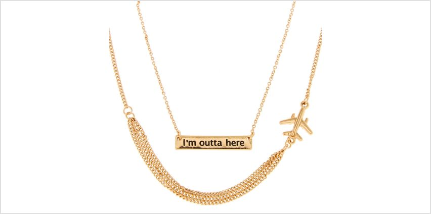 Go to Product: Gold Tone I'M OUTTA HERE Pendant Necklace from Claires