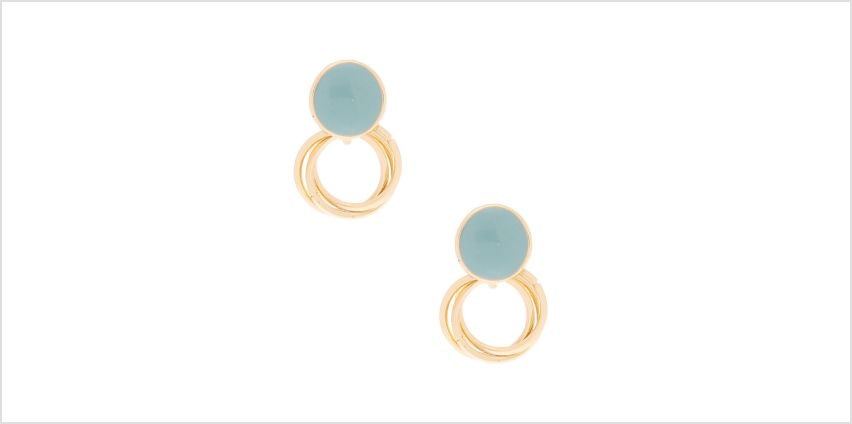 Go to Product: Gold Triple Ring and Stone Drop Earrings - Teal from Claires