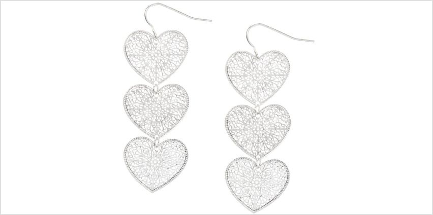 """Go to Product: Silver 2"""" Filigree Heart Drop Earrings from Claires"""