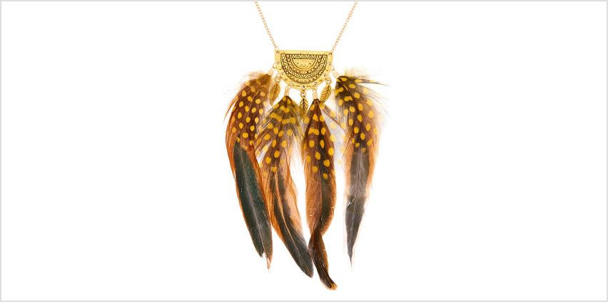 Go to Product: Gold Polka Dot Feather Long Pendant Necklace - Yellow from Claires