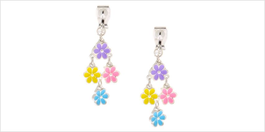 """Go to Product: 1"""" Flower Power Clip On Drop Earrings from Claires"""