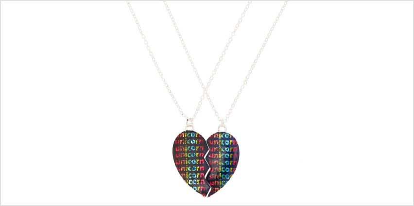 Go to Product: Best Friends Unicorn Heart Pendant Necklaces - Black, 2 Pack from Claires