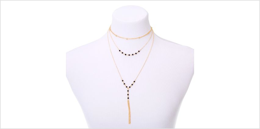 Go to Product: Gold Bead Multi Strand Necklace - Black from Claires