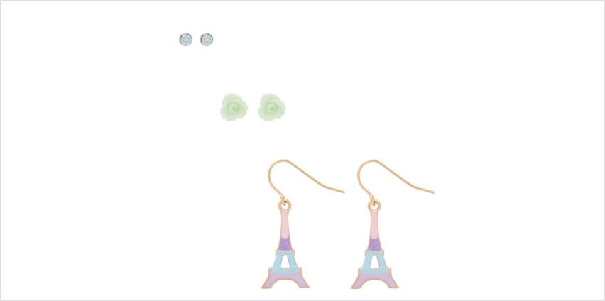 Go to Product: Pastel Glitter Eiffel Tower Earring Set - Mint, 3 Pack from Claires