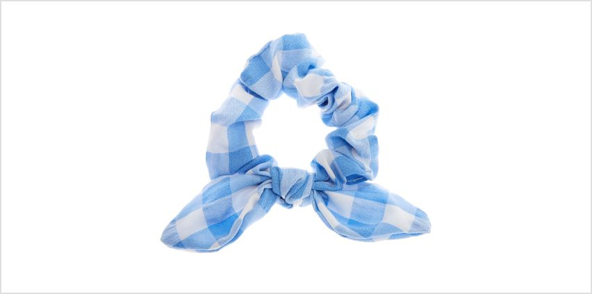 Go to Product: Small Gingham Knotted Bow Hair Scrunchie - Blue from Claires