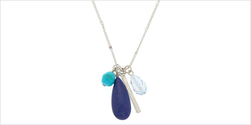 Go to Product: Silver Stone Cluster Long Pendant Necklace - Blue from Claires