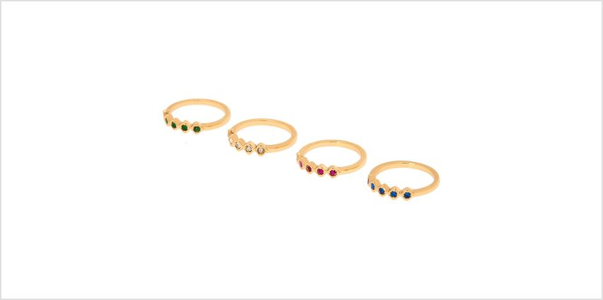 Go to Product: Gold Royal Rainbow Ring Set - 4 Pack from Claires