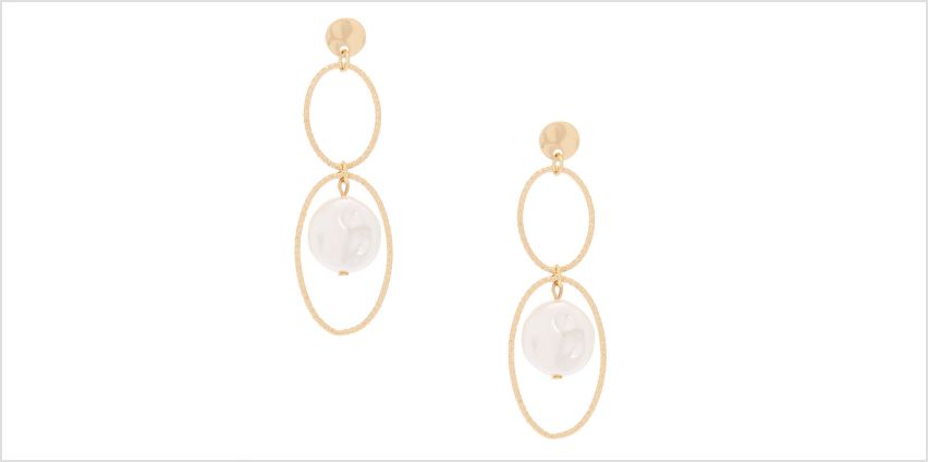 """Go to Product: Gold Pearl 2.5"""" Loop Drop Earrings from Claires"""
